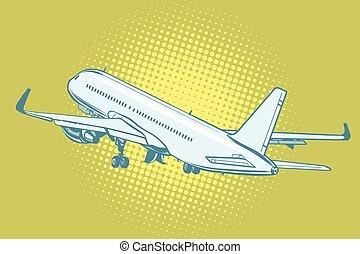 avião passageiro, decolagem