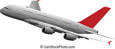 avião passageiro, em, ar., vetorial, doente