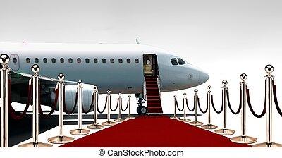 avião pensão, vermelho, privado, tapete