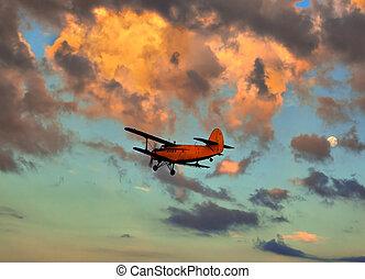 avião pequeno, contra, a, céu, ligado, um, declínio