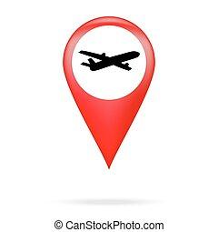 avião, ponteiro, ícone