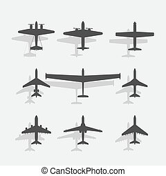 avião, pretas, ícone