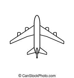 avião, pretas, esboço