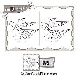 avião, pretas, papel, jogo, achar, diferenças, 9