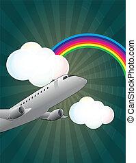 avião, raimbow