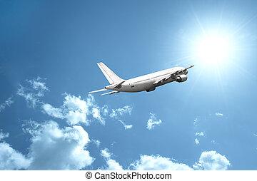 avião, rapidamente