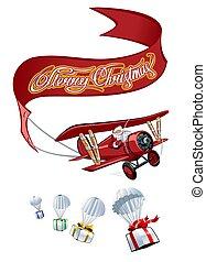 avião, retro, caricatura, bandeira, natal