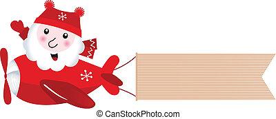 avião, retro, santa, natal, bandeira, em branco, voando