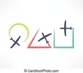 avião, símbolo., desenho, logo.