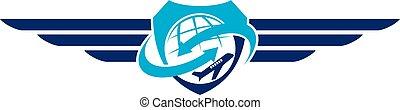 avião, símbolo, logotipo, desenho, modelo, vetorial