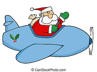 avião, santa, natal, seu, voando