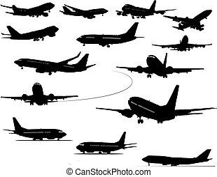 avião, silhouettes., vetorial, pretas, illustration., um,...