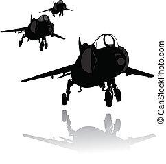 avião, silueta, aterragem