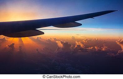 avião, silueta, ligado, pôr do sol