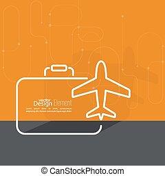 avião, suitcase., ícone