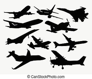 avião, transporte, silhuetas