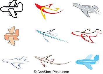 avião, vetorial, -, ícone