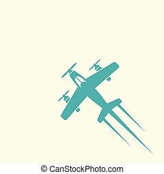 avião, vetorial, colorido, isolado, ícone