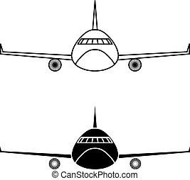 avião, vetorial, desenho, modelo