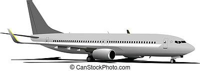 avião., vetorial, ilustração