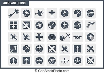 avião, vetorial, jogo, ícone