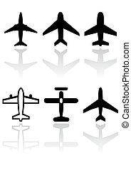 avião, vetorial, símbolo, set.