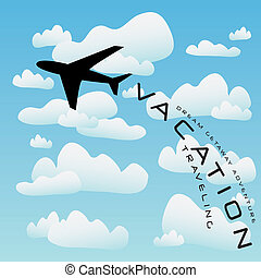 avião, vetorial, viagem férias