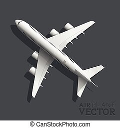 avião, vetorial, vista superior