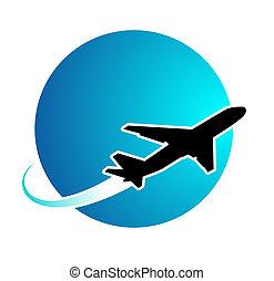 avião, viagem, ao redor mundo