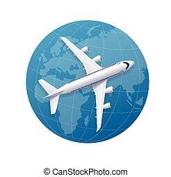 avião, viagem, concept., vetorial