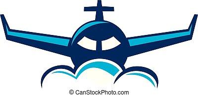 avião, viagem, logotipo, desenho, modelo, vetorial