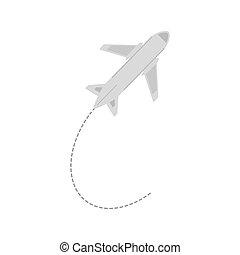 avião, viagem, negócio, férias