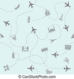 avião, viagem turismo, localizações, marco, fundo, cartão, impressão, seamless.