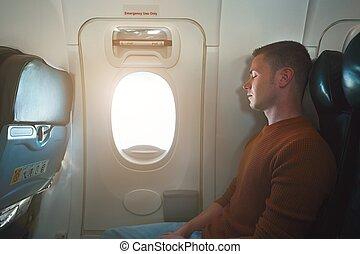 avião, viajando, confortável