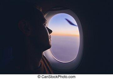 avião, viajando, homem