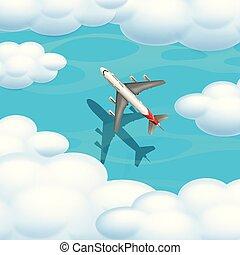 avião, vista aérea