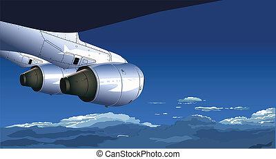 avião, vista