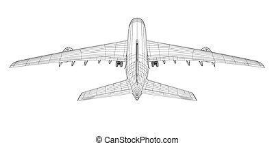 avião, vista, wire-frame, parte traseira, style.