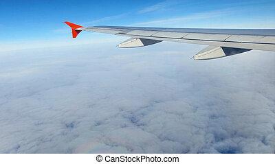 avião, voando, asa