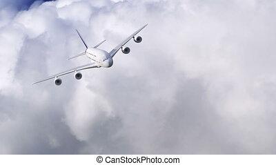 avião, voando, através, nuvens