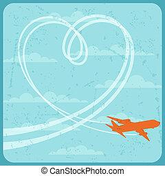 avião, voando, ilustração, sky.