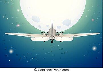 avião, voando, lua