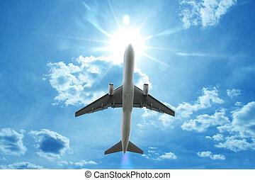 avião, voando, nuvens, acima