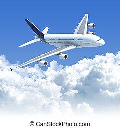avião, voando, nuvens, sobre