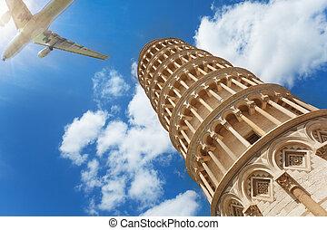 avión, ángulo, torre, bajo, tiro, pisa