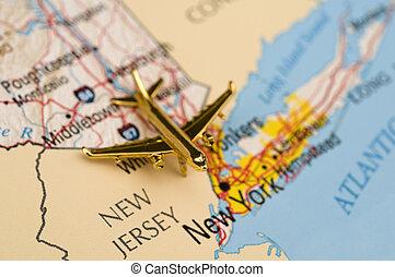 avión, a, nueva york
