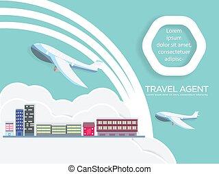 avión, agente de viajes, aire