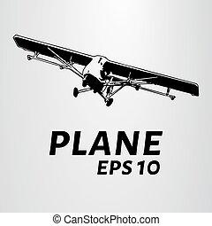 avión agrícola, toma, saliendo., el, pequeño, avión, silueta, de, el, aircraft., vector, ilustración