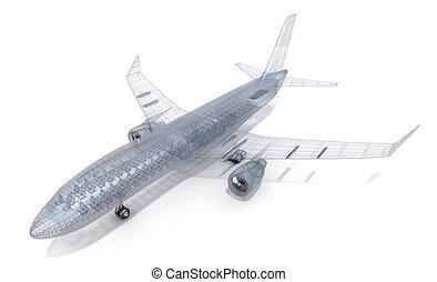 avión, alambre, modelo