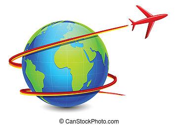 avión, alrededor, tierra